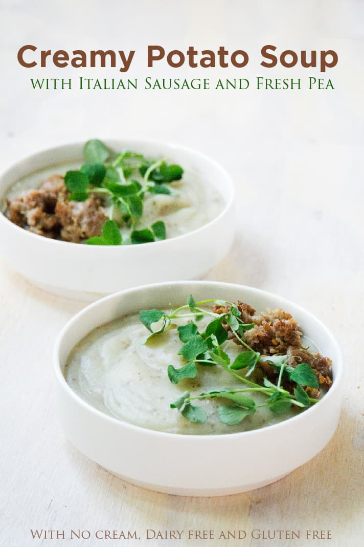 Creamy potato soup with Italian sausage and pea sprouts is savory, creamy, full of gut healing nutrients, perfect for when your craving carbs yet want to be healthy.