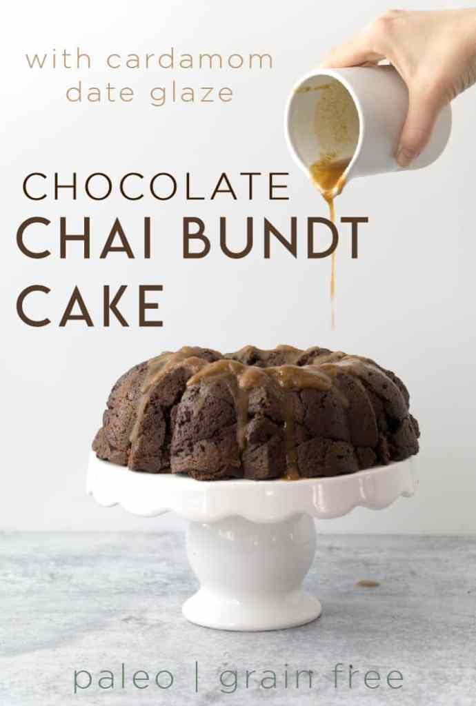 This paleo chocolate chai bundt cake with a cardamom date glaze is dairy, gluten, refined sugar free and low caffeine. It's light and moist and delectable at any celebration.