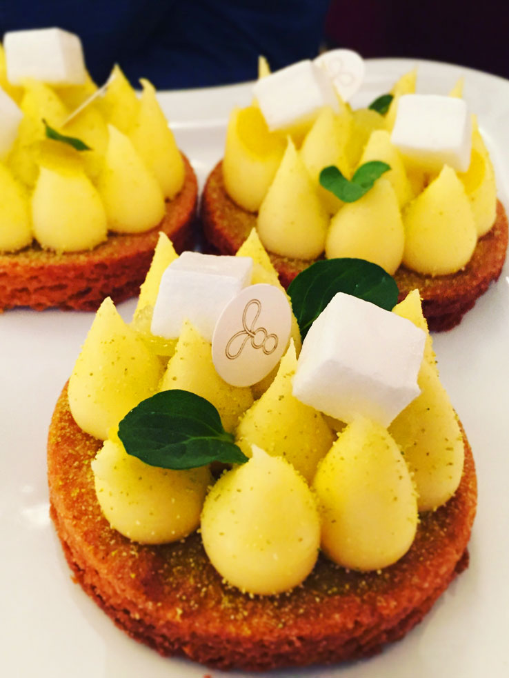 Lemon tart from Brasserie Thoumieux at brunch, in Paris