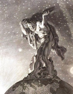 Atlas soutenant la voute céleste ( Miche de marolles 1655 -Archive BNF)