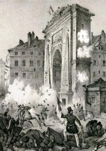 coup-de-pierre-revolution-de-juillet-1830-porte-saint-denis