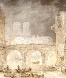 Incendie Hôtel Dieu 1772 par Hubert Robert