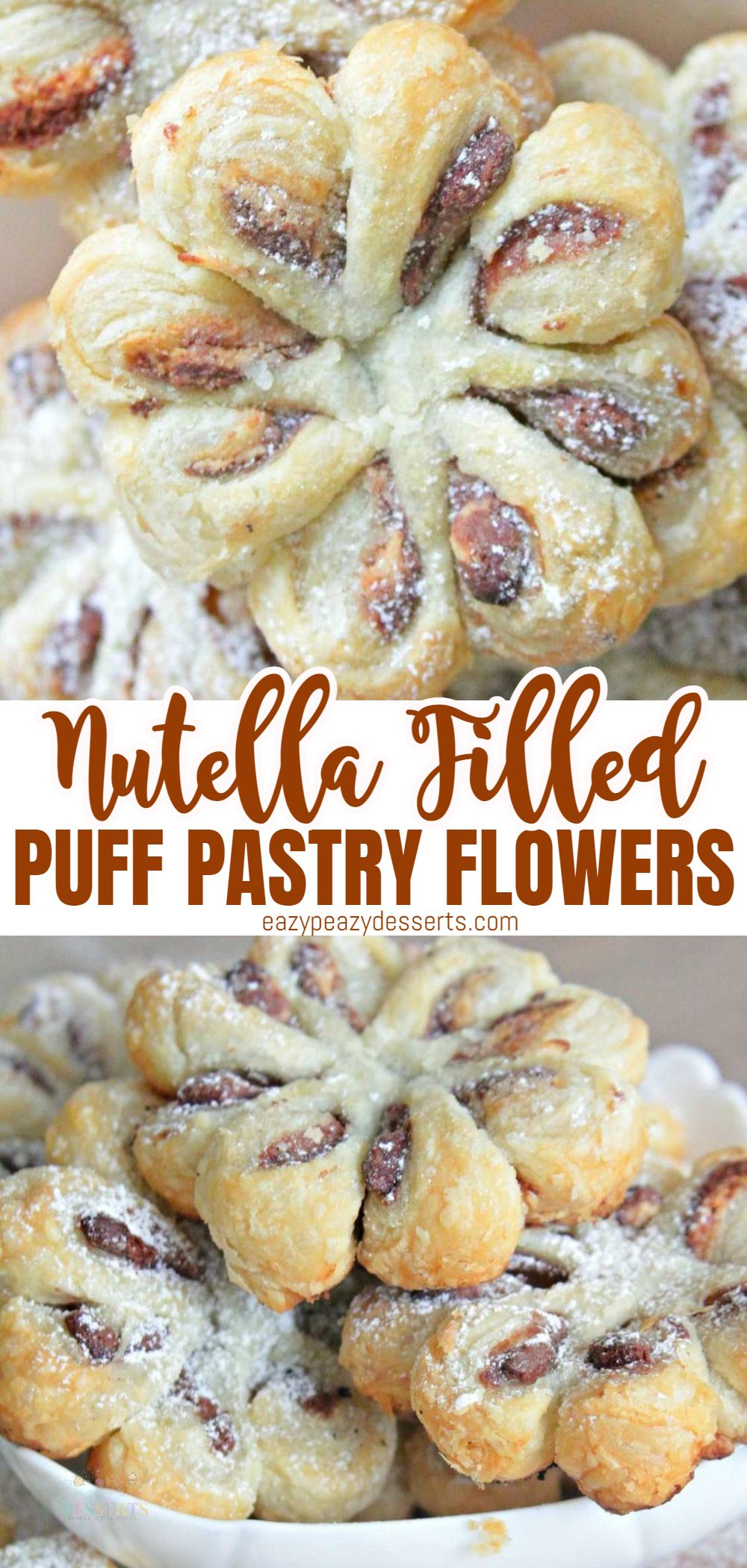 This Nutella puff pastry dessert is simply divine and can easily be made in bulk to serve at a party or any large gathering! I love how the puff pastry tastes so buttery and flaky! via @eazypeazydesserts