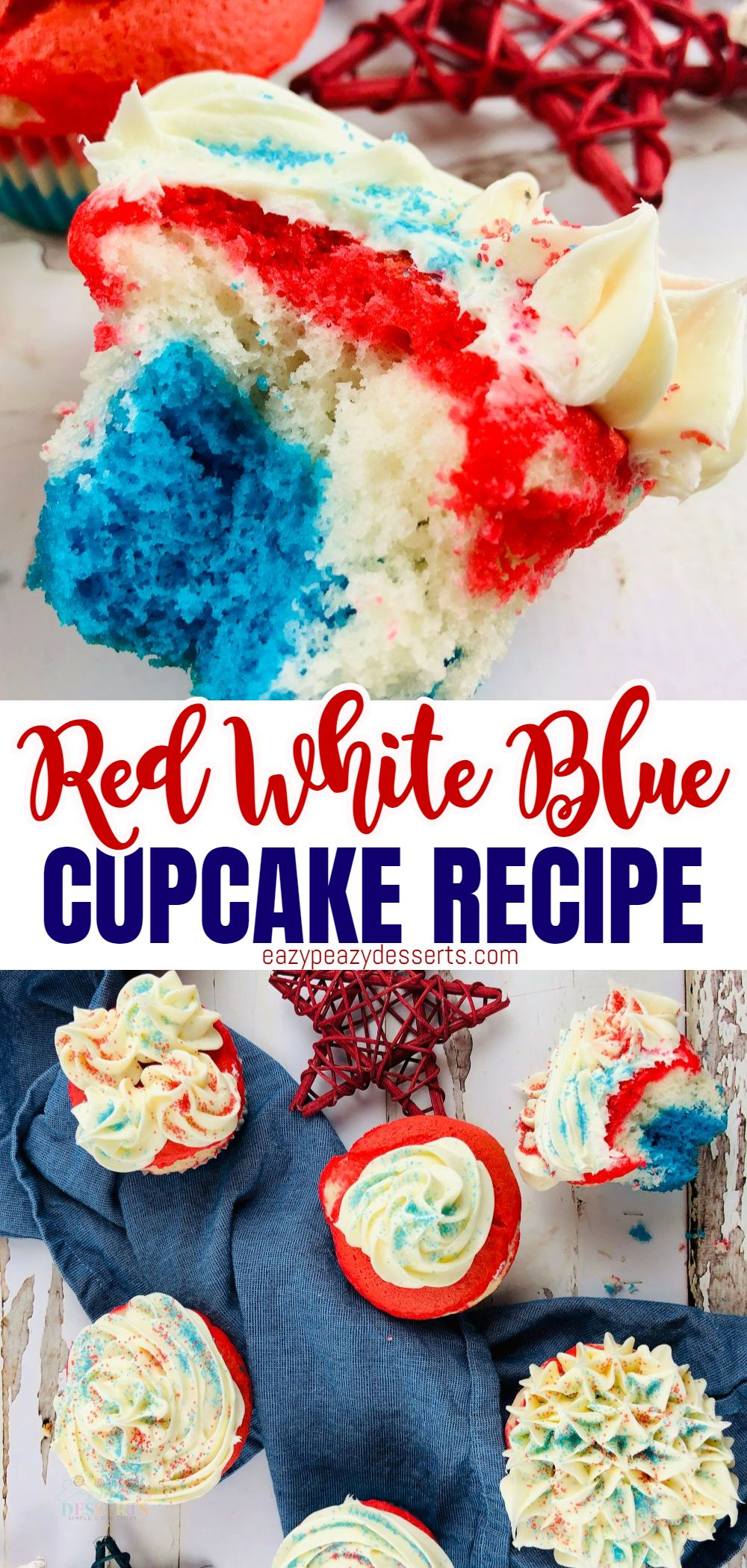 Fourth of July is just around the corner! So today, I'm exploring some red white and blue cupcakes with delightful cupcake decorating ideas that will be fun for all the family, from the baking right through to the BBQ! via @eazypeazydesserts