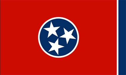 Tennessee state flag with a blue circle with three white stars on a red background and a white and blue stripe on edge.