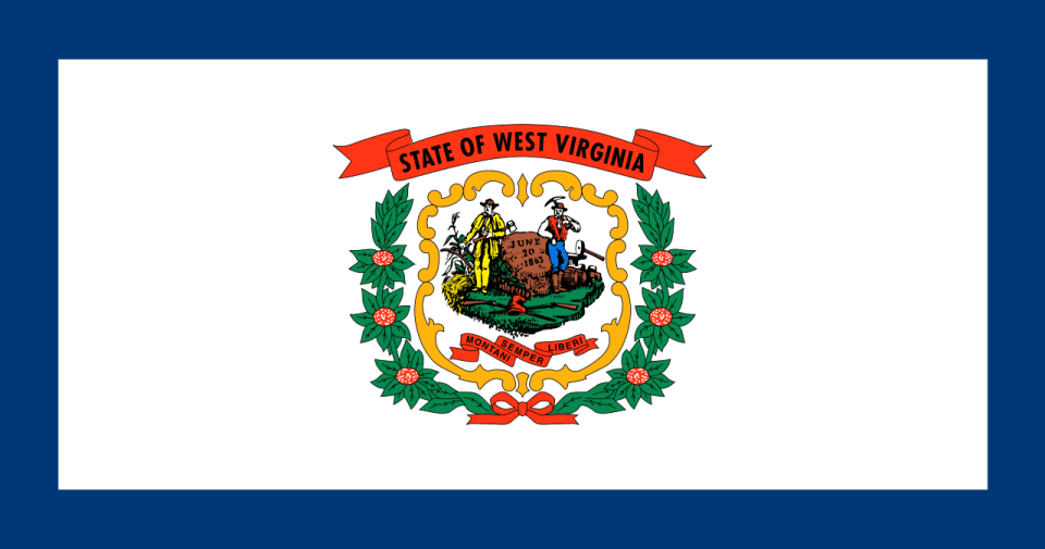 West Virginia state flag with coat of arms in the center on a pure white field bordered by a blue stripe.