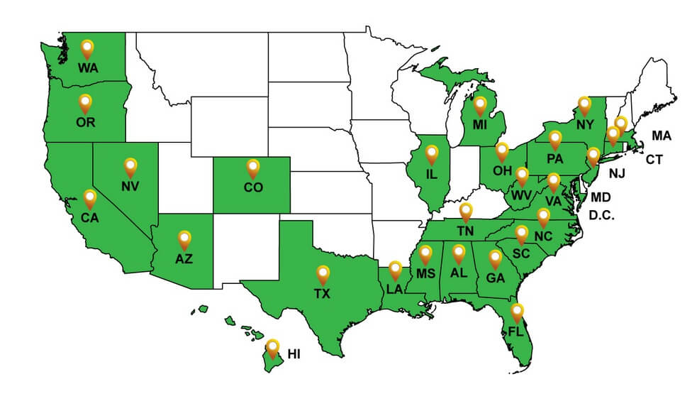 Map of states affected by USCIS regulations to the EB-5 Program