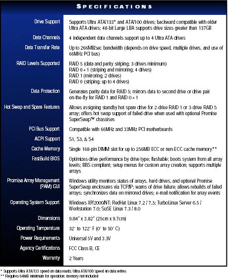 Promise SX-4000 Specs