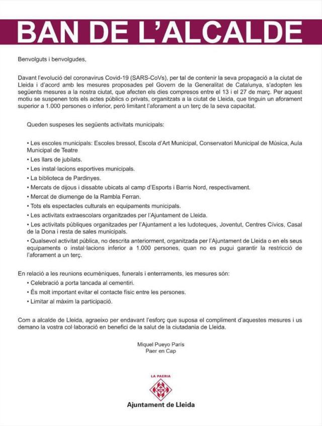 CANCEL·LACIÓ D'ACTIVITATS AL CENTRE CÍVIC DE PARDINYES