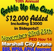 10th ANNUAL Gobble Up The Cash Results November 23-25, 2018