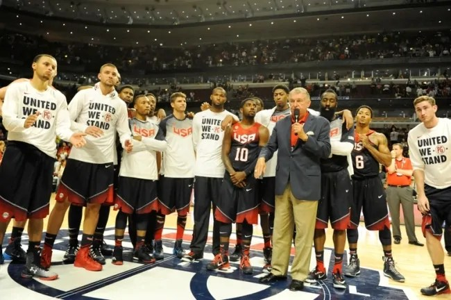 Aug 16, 2014; Chicago, IL, USA; United States Basketball Managing Director Jerry Colangelo and the USA Team address the crowd after the game against  Brazil at the United Center. The United States defeated Brazil 95-78. Mandatory Credit: David Banks-USA TODAY Sports