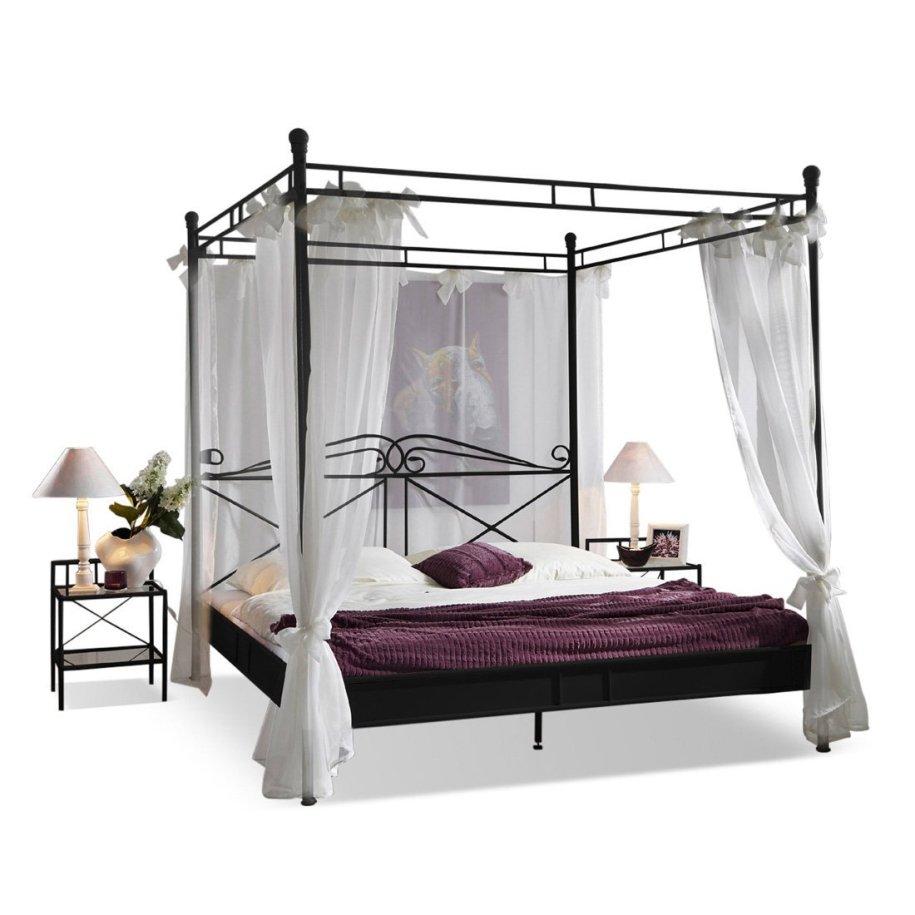 Metallbett 180 x 200 cm in schwarz inklusive Vorhang ...