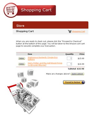 Webstore Shopping Cart Page
