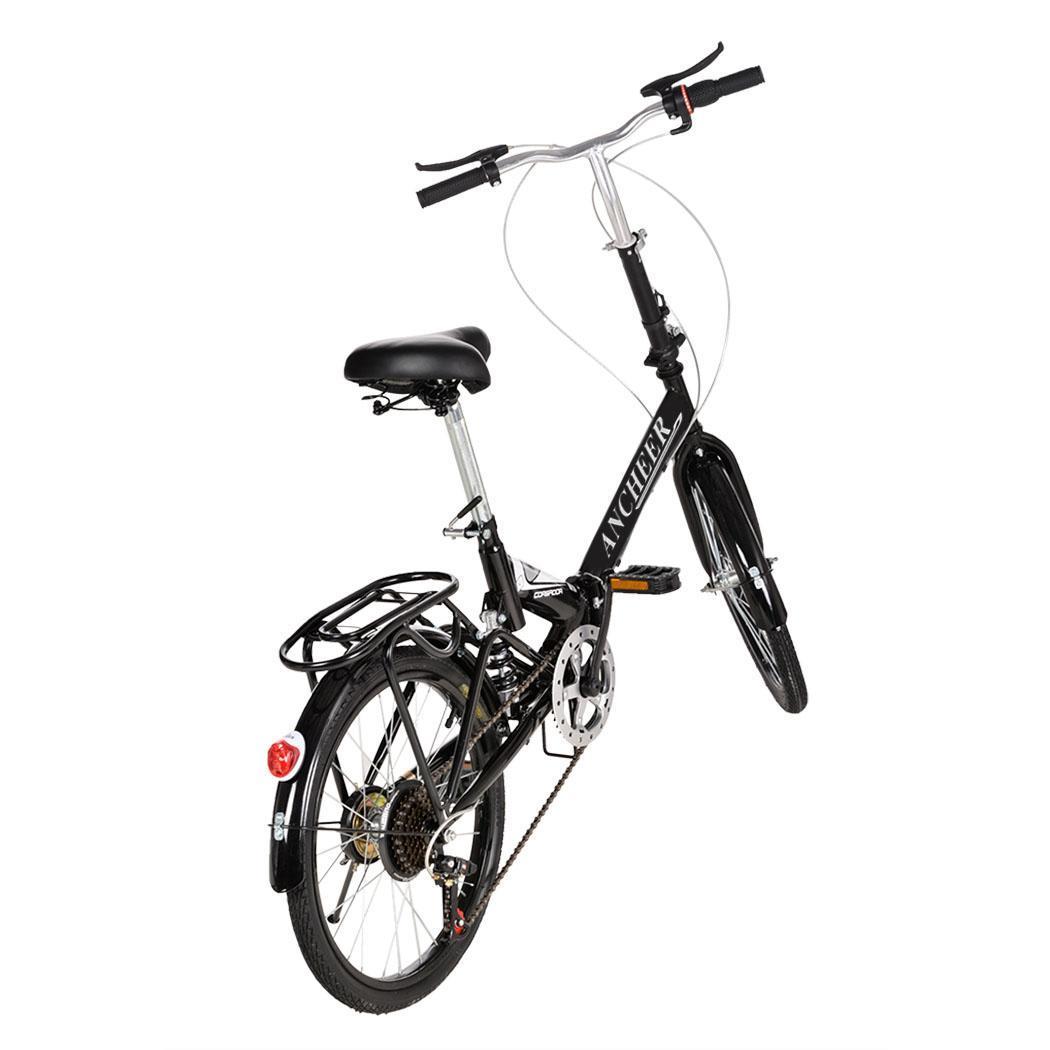 20 Folding 6 Speed Mountain Bike Bicycle Black Cycle Adjustable Seat Height