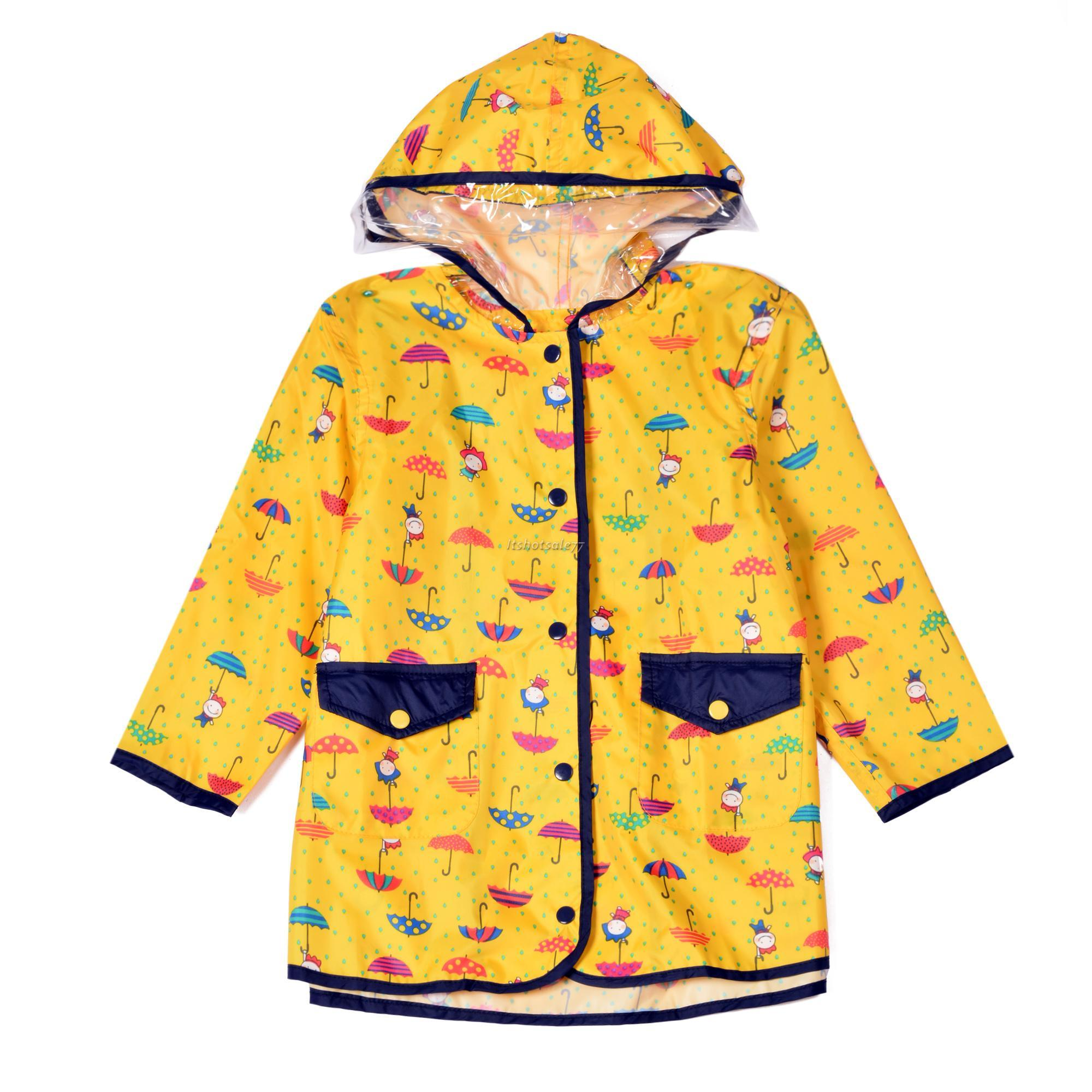 Kids Raincoat Waterproof Hooded Umbrella Pattern Cute