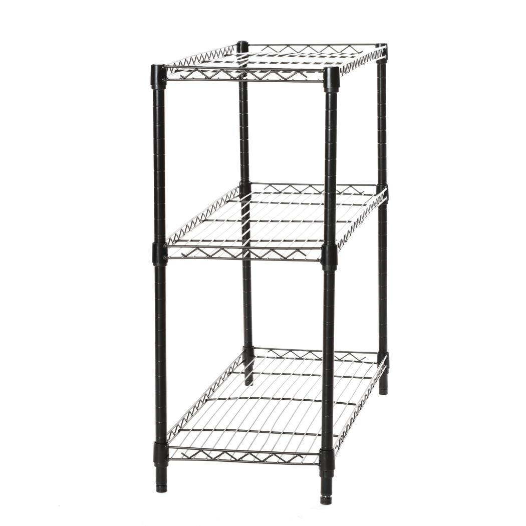 Black Storage Rack 3 Tier Organizer Kitchen Shelving Steel