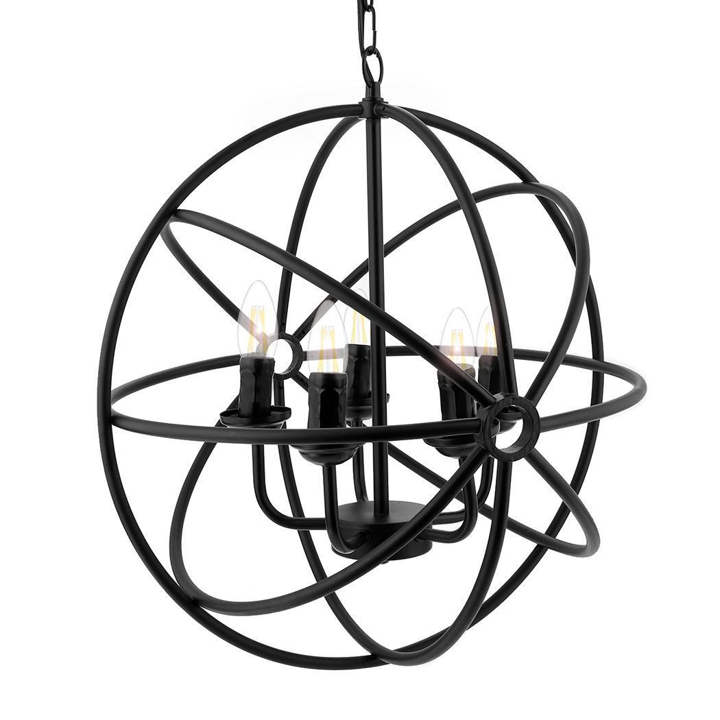 5 Lights Black Iron Rustic Circular Round Chandelier