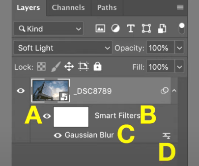 Where do you click to adjust the blending mode for a Smart Filter?