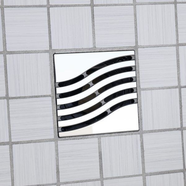 E4814-PS - Ebbe UNIQUE Drain Cover - TSUNAMI - Polished Stainless Steel - Shower Drain - ad