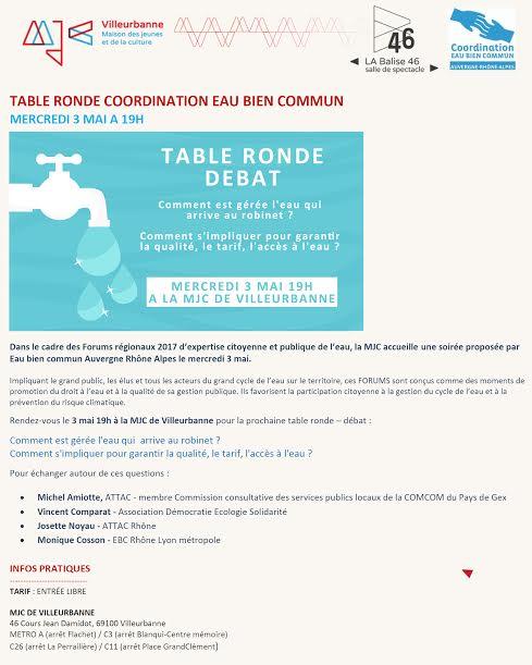 Table Ronde Débat // Le 3 mai 2017 // Villeurbanne