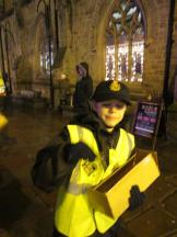 Handing out keyrings at the Lumiere (Copy)
