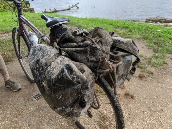 A mud-covered regular bicycle of a through-biker on the C&O Towpath. This is how our e-bikes would have looked liked if the event would not have been cancelled