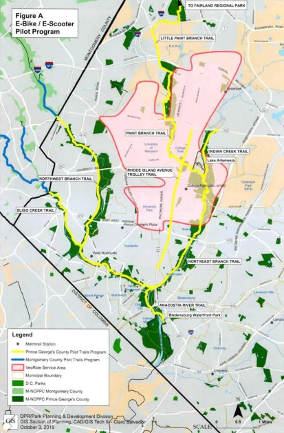 A map of e-biking trails tested during a pilot program in Prince George's County