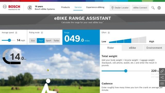 A screenshot of the bosch e-bike motor range calculator