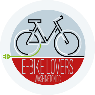 Small logo of e-bike lovers with an electric bike in black and white
