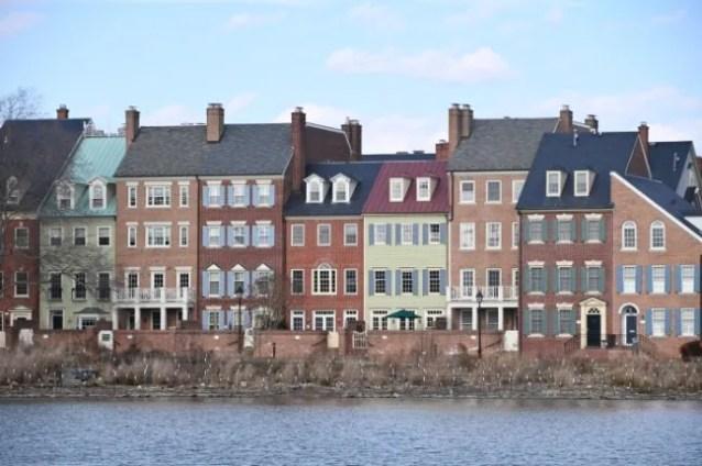 Elegant townhouses in Harbor Side in Alexandria.