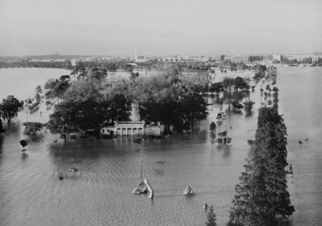 The flooded teahouse with the awakening Haines Point