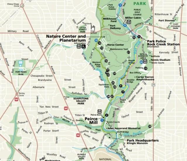 Part of the Rock Creek Park Map