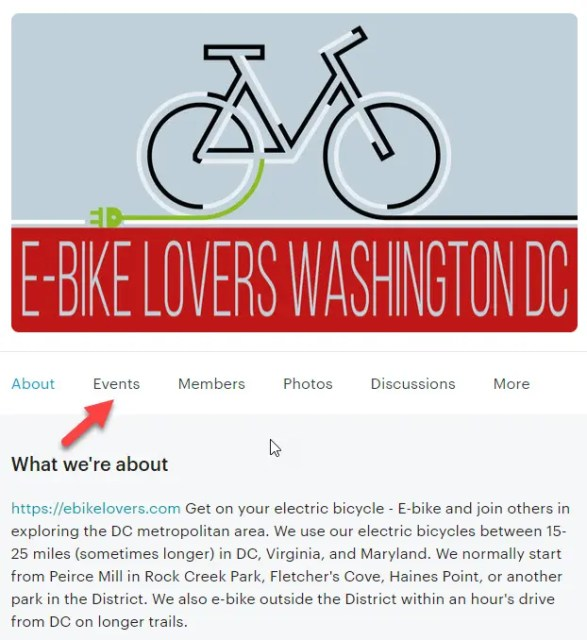 Step 0 - Visit the Meetup page of ebikelovers