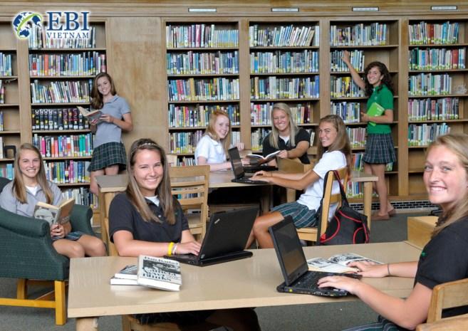 Học sinh THPT học tập tại thư viện.