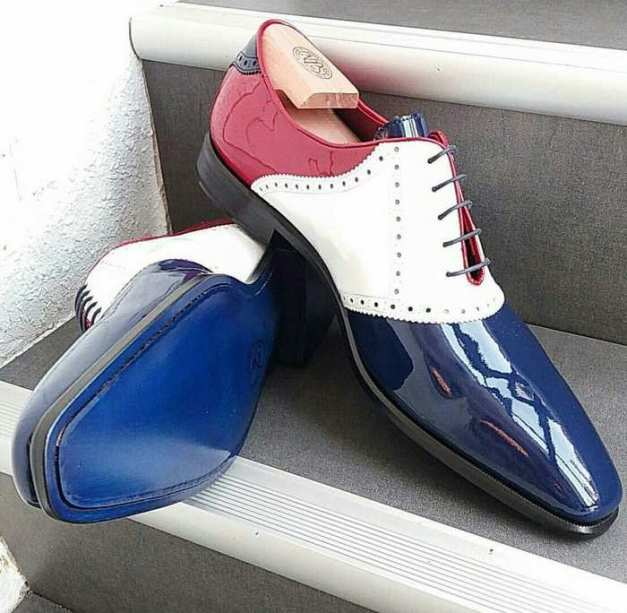Colorful saddle Oxford with cobalt leather sole - Wealthy Wearz - EbonyDirectory