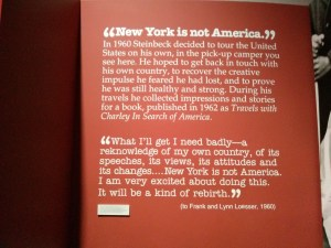 "Display featuring a quote from Steinbeck's ""Travels with Charley"""