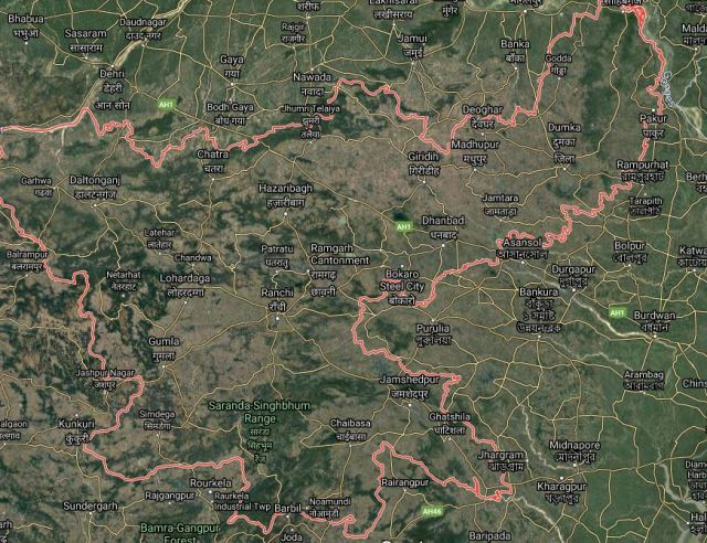 Map of Jharkhand Satellite view