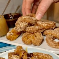 Favorite FoodieBook Friday Sweet Potato Churros, with a side of chocolate sauce AND a side of caramel sauce!