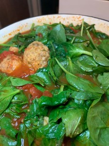 Spinach and meatballs