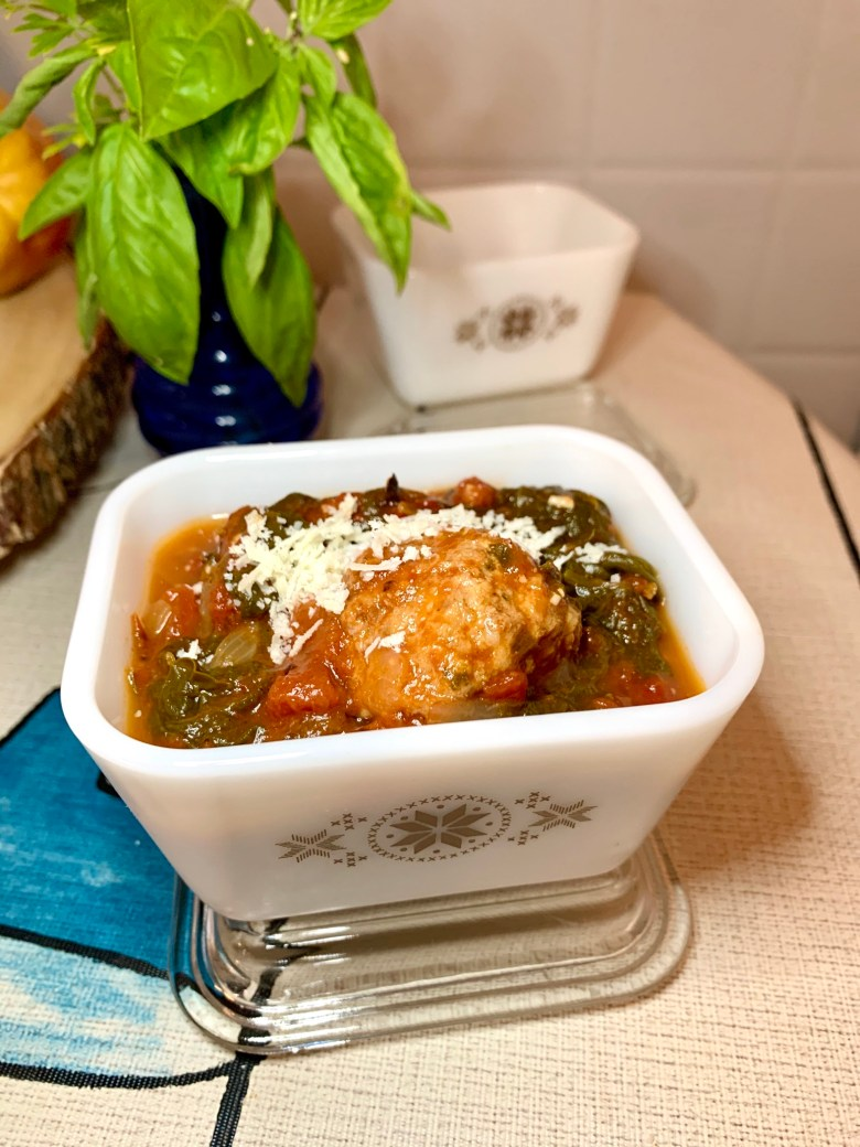 Spinach and Meatballs in Pyrex fridgie