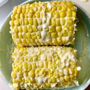 Mayo rubbed corn