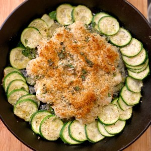 Cilantro Lime Shrimp Skillet with thinly sliced Zucchini