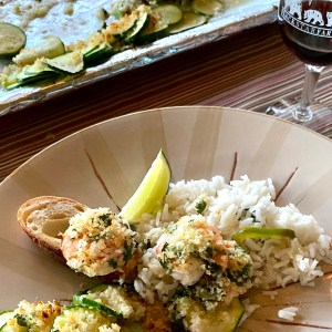 Cilantro Lime Shrimp with zucchini -sheet panned