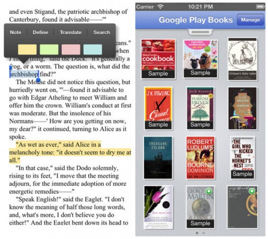 Google Play Books for iPhone and iPad screenshots
