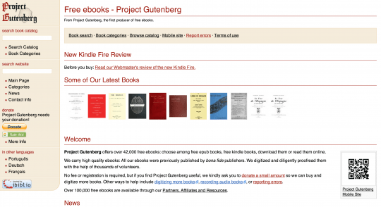 Project Gutenberg - front page