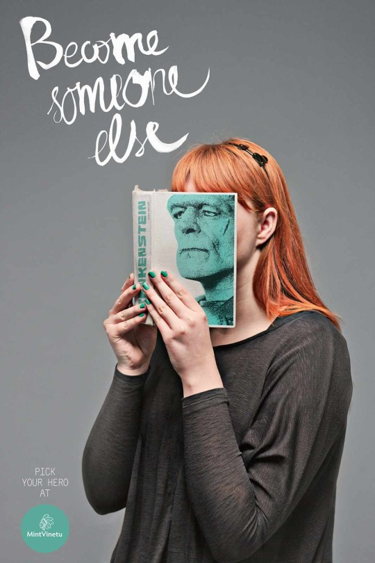 A woman holding a book giving her the appearence of a Frankenstein face