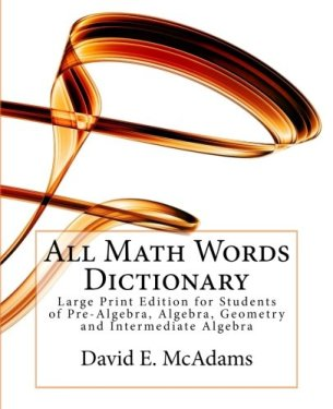 All Math Words Dictionary - Large Print Edition