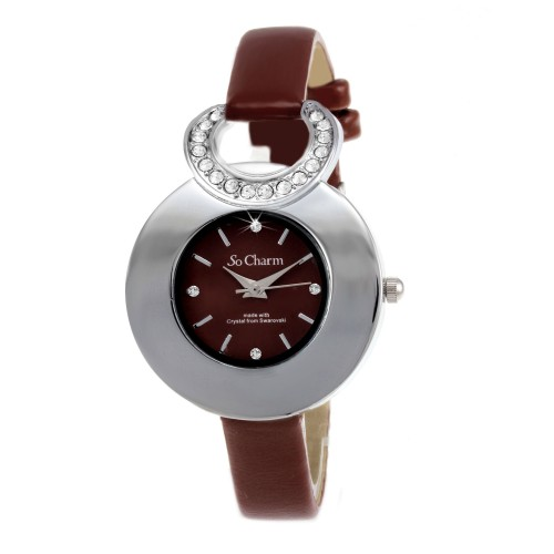 MF339-MARRON Montre femme fantaisie So Charm made with crystal from Swarovski