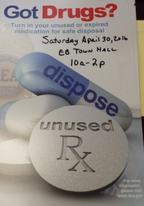 Prescription Drug Takeback Next Saturday, April 30th at EB Town Hall