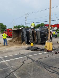 East Bridgewater Police Investigating Rollover Crash at YMCA Involving Dump Truck